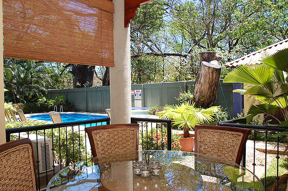 Covered Dinning Area Open to Pool and Spa